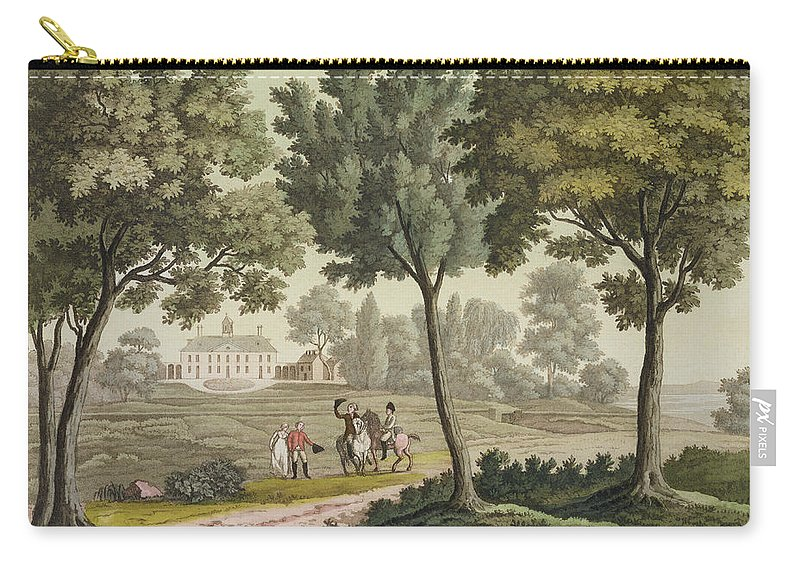 Presidential Residence Carry-all Pouch featuring the drawing Washingtons House At Mount Vernon by Paolo Fumagalli