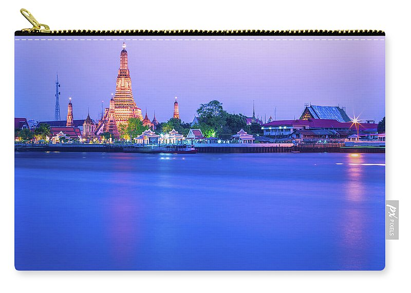 Scenics Carry-all Pouch featuring the photograph Wat Arun Temple Bangkok Thailand by Deimagine