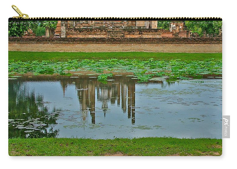 Wat Mahathat Reflection In 13th Century Sukhothai Historical Park Carry-all Pouch featuring the photograph Wat Mahathat In13th Century Sukhothai Historical Park-thailand by Ruth Hager