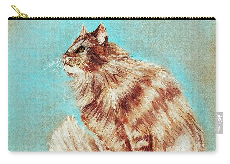 Malakhova Carry-all Pouch featuring the painting Watch Cat by Anastasiya Malakhova