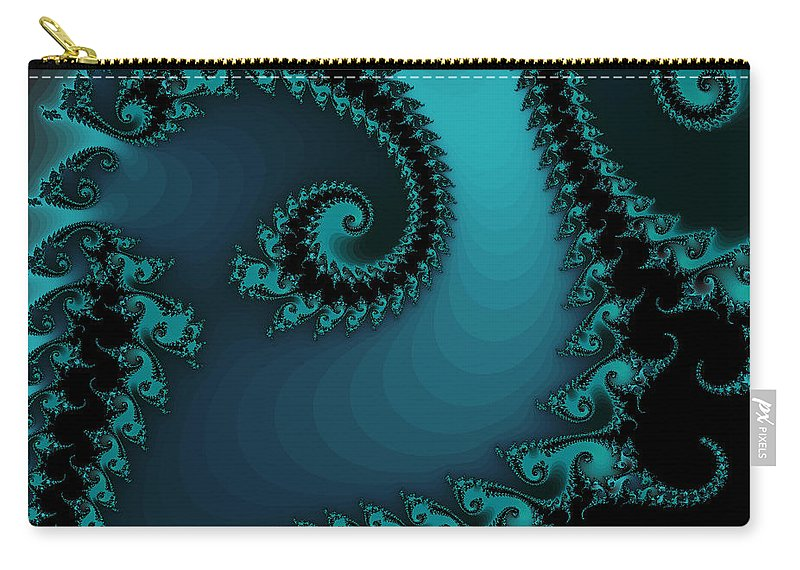 Fractal Art Carry-all Pouch featuring the digital art Watchers On The Chalcedony Slide by Elizabeth McTaggart