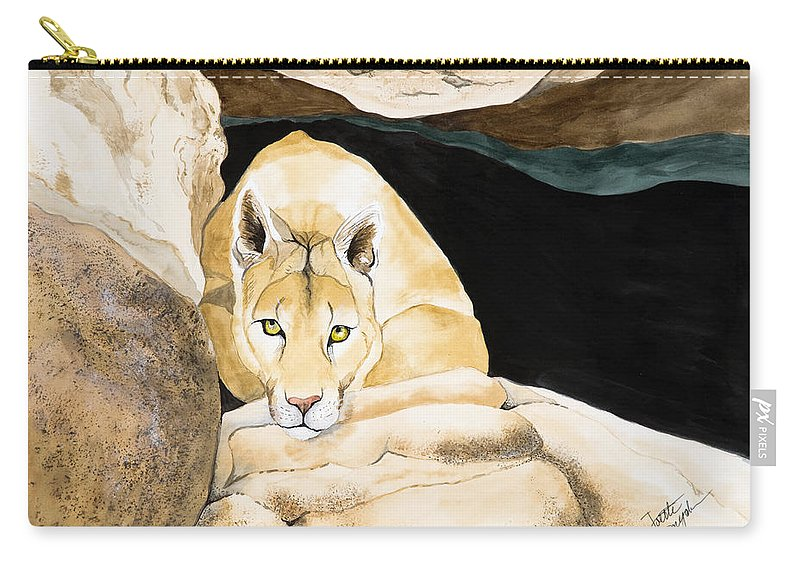 Cougar Carry-all Pouch featuring the painting Watching by Joette Snyder