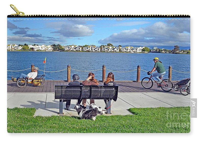 Watching The Bikes Go By Carry-all Pouch featuring the photograph Watching The Bikes Go By At Congressman Leo Ryan's Memorial Park by Jim Fitzpatrick