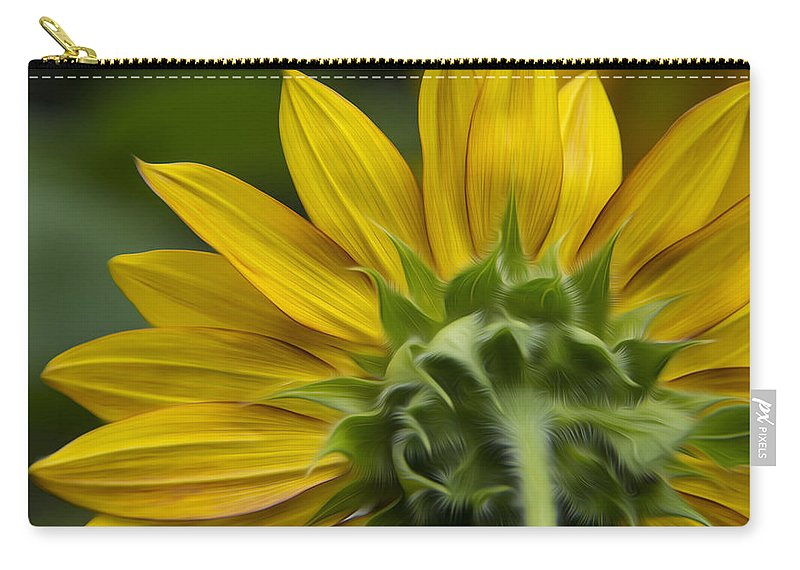 Sunflower Carry-all Pouch featuring the photograph Watching The Sun by Erika Fawcett