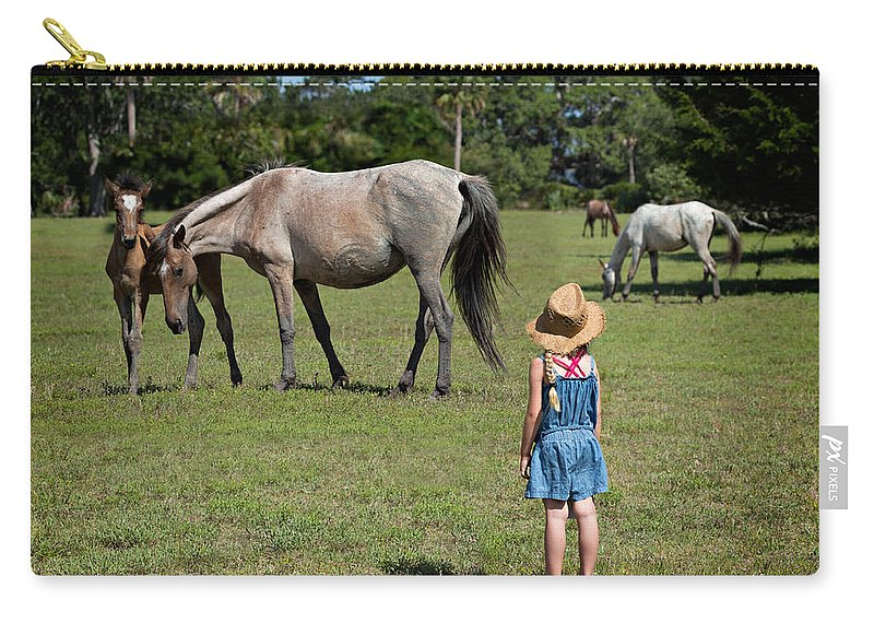 Wild Carry-all Pouch featuring the photograph Watching The Wild Horses by Louise Heusinkveld