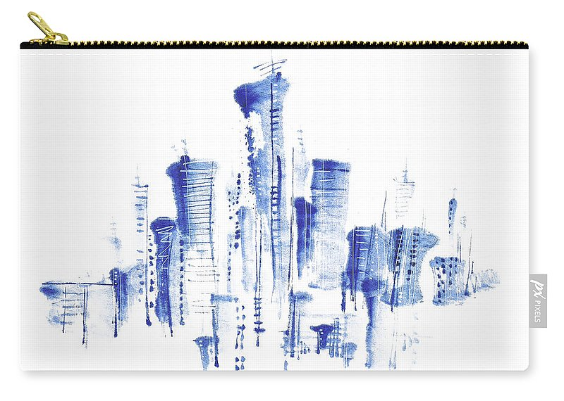 White Background Carry-all Pouch featuring the digital art Water-and-ink Cityscape by Bji/blue Jean Images