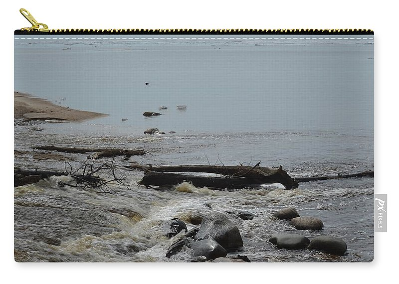 Great Lakes Carry-all Pouch featuring the photograph Water And Rocks by Linda Kerkau