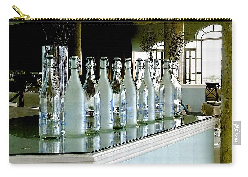 Bottles Carry-all Pouch featuring the photograph Water Bottles by Barbara Zahno