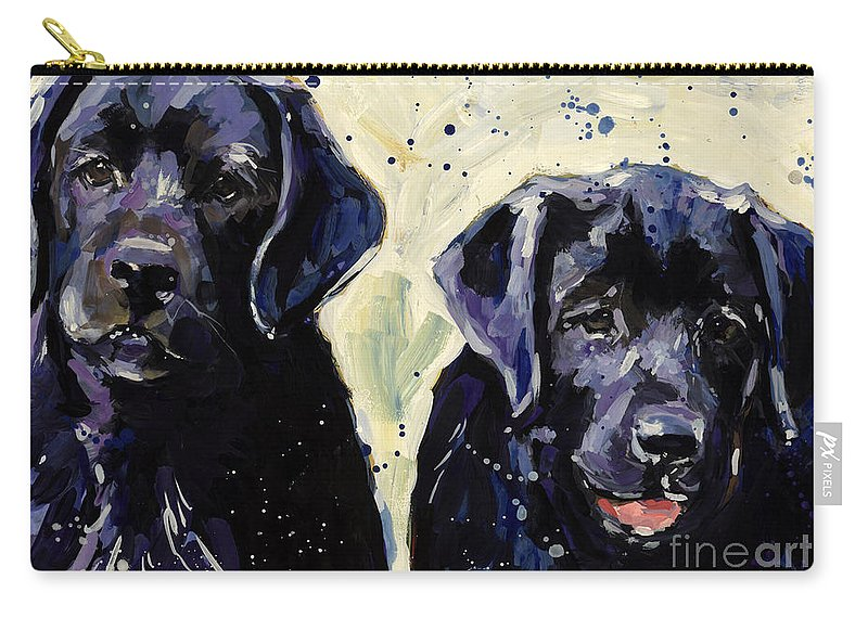 Labrador Retriever Puppies Carry-all Pouch featuring the painting Water Boys by Molly Poole
