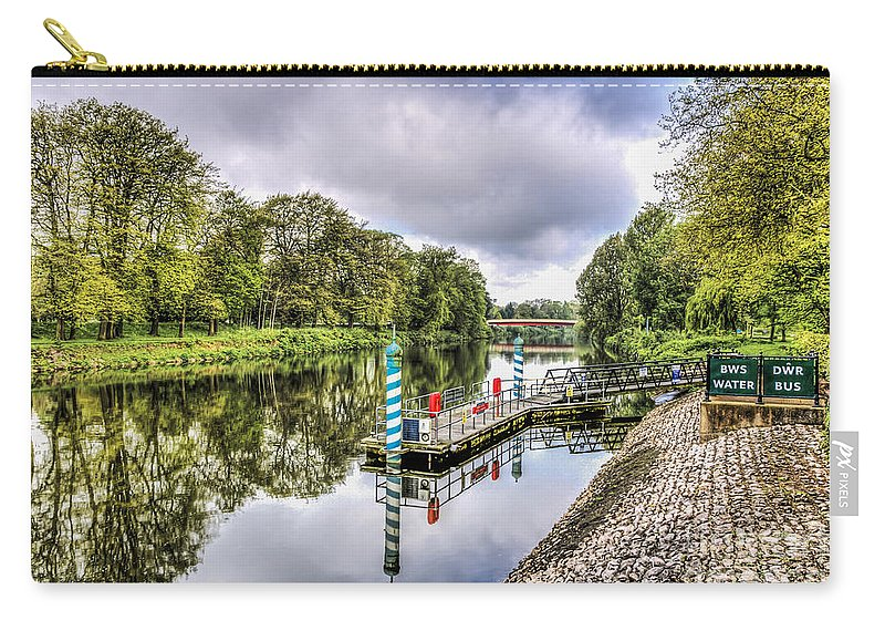 Water Bus Stop Carry-all Pouch featuring the photograph Water Bus Stop Bute Park Cardiff by Steve Purnell