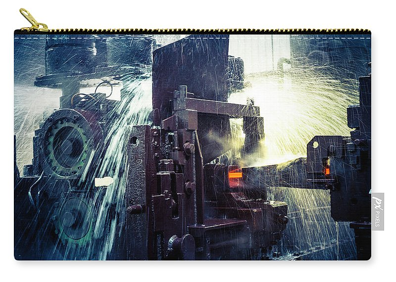 Metalwork Carry-all Pouch featuring the photograph Water Cooling Of Roling Mill Line by Chinaface