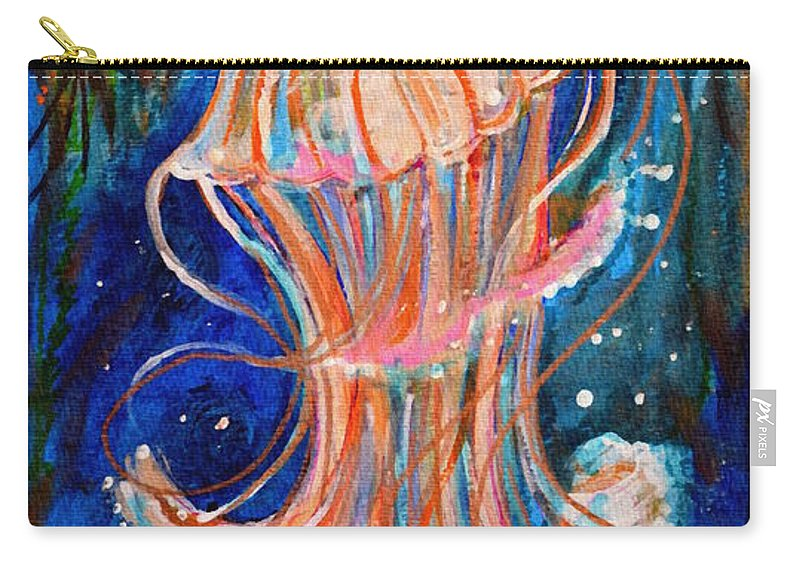Jellyfish Carry-all Pouch featuring the painting Water Dance by Valarie Pacheco