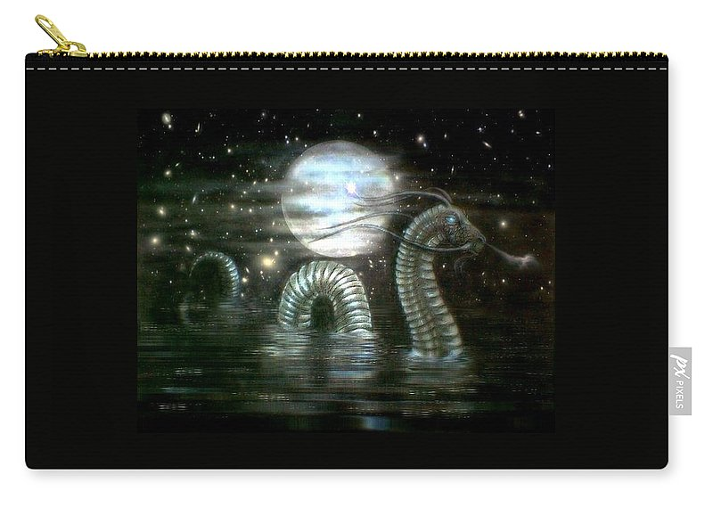 Carry-all Pouch featuring the drawing Water Dragon And Moon by Couture Yan-D