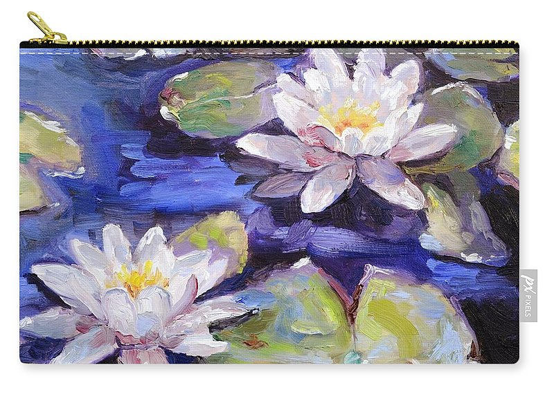 Lily Carry-all Pouch featuring the painting Water Lilies by Donna Tuten