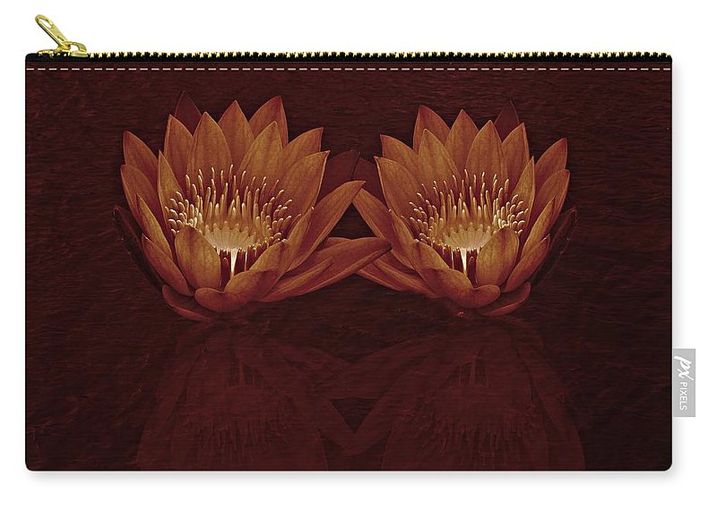 Water Lily Carry-all Pouch featuring the photograph Water Lilies In Deep Sepia by David Dehner