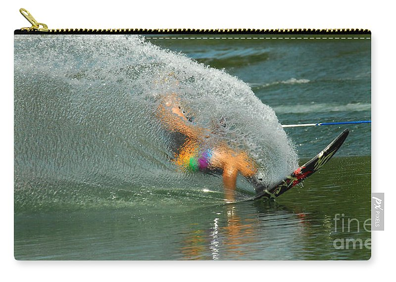 Water Skiing Carry-all Pouch featuring the photograph Water Skiing 5 Magic Of Water by Bob Christopher