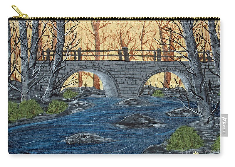 Landscape Carry-all Pouch featuring the painting Water Under The Bridge by Brenda Brown