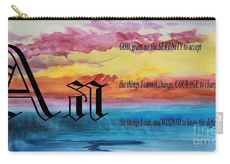 Watercolor A And Serenity Prayer Carry-all Pouch featuring the painting Watercolor A And Serenity Prayer by Barbara Griffin