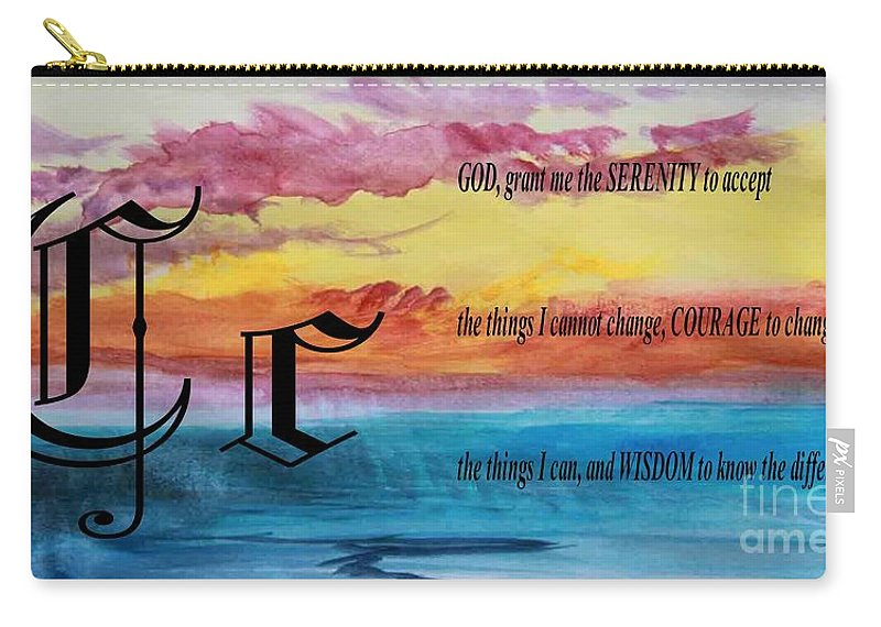 Watercolor C And Serenity Prayer Carry-all Pouch featuring the painting Watercolor C And Serenity Prayer by Barbara Griffin