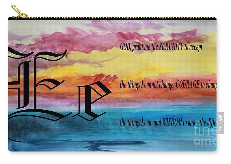 Watercolor E And Serenity Prayer Carry-all Pouch featuring the painting Watercolor E And Serenity Prayer by Barbara Griffin