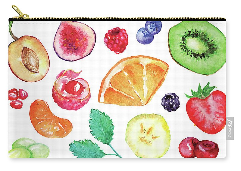 Cherry Carry-all Pouch featuring the digital art Watercolor Exotic Fruit Berry Slice Set by Silmairel