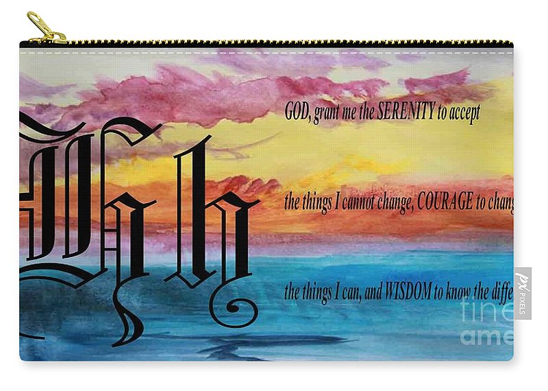 Watercolor H And Serenity Prayer Carry-all Pouch featuring the painting Watercolor H And Serenity Prayer by Barbara Griffin