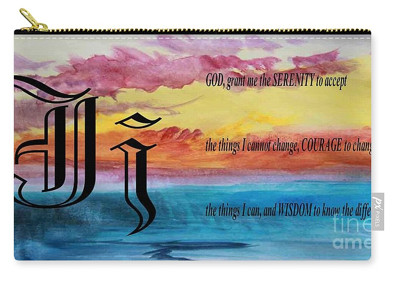 Watercolor J And Serenity Prayer Carry-all Pouch featuring the painting Watercolor J And Serenity Prayer by Barbara Griffin