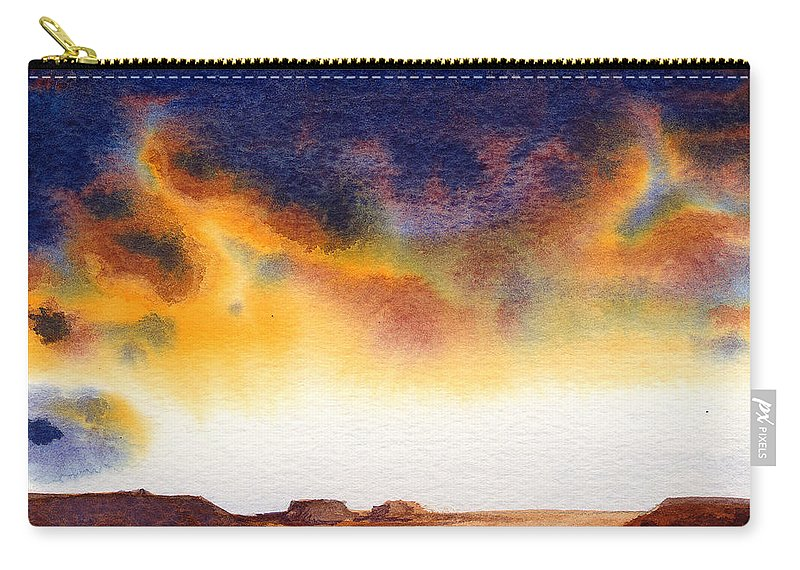 Watercolor Carry-all Pouch featuring the painting Mesa by Konnie Kim