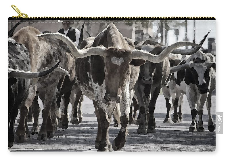 Joan Carroll Carry-all Pouch featuring the photograph Watercolor Longhorns by Joan Carroll