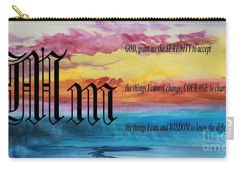 Watercolor M And Serenity Prayer Carry-all Pouch featuring the painting Watercolor M And Serenity Prayer by Barbara Griffin
