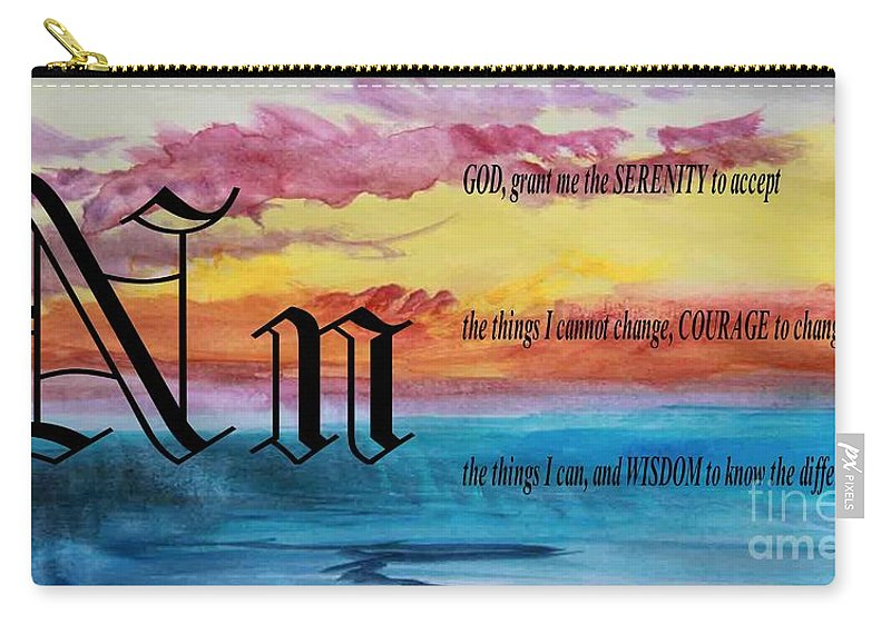 Watercolor N And Serenity Prayer Carry-all Pouch featuring the painting Watercolor N And Serenity Prayer by Barbara Griffin