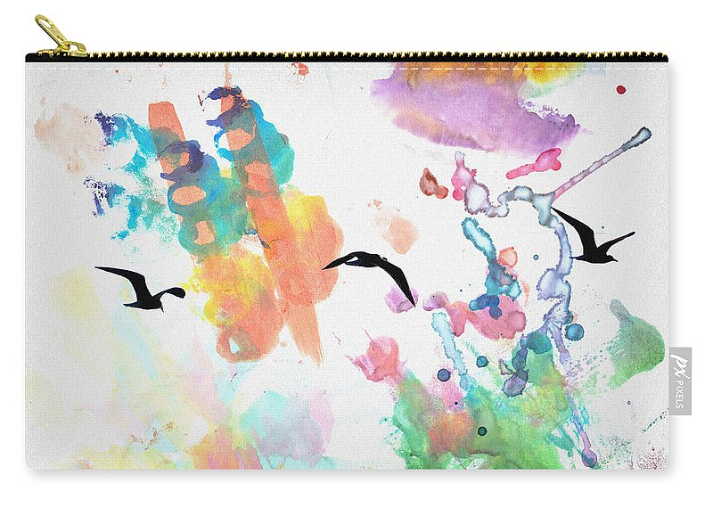 Watercolor Carry-all Pouch featuring the photograph Watercolor Seagulls by Bill Cannon