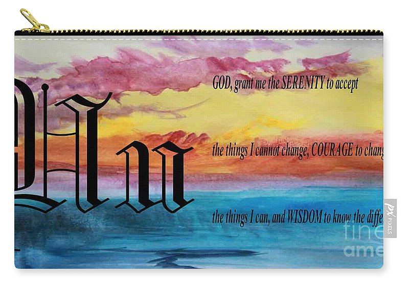 Watercolor U And Serenity Prayer Carry-all Pouch featuring the painting Watercolor U And Serenity Prayer by Barbara Griffin