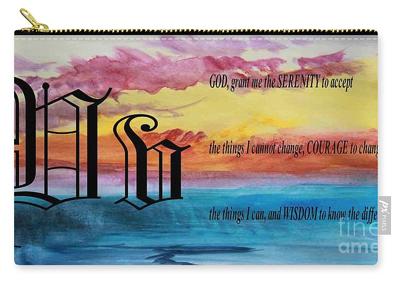 Watercolor V And Serenity Prayer Carry-all Pouch featuring the painting Watercolor V And Serenity Prayer by Barbara Griffin