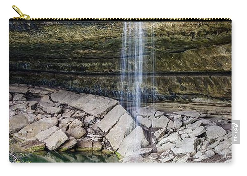 Waterfall At Hamilton Pool Carry-all Pouch featuring the photograph Waterfall At Hamilton Pool by David Morefield