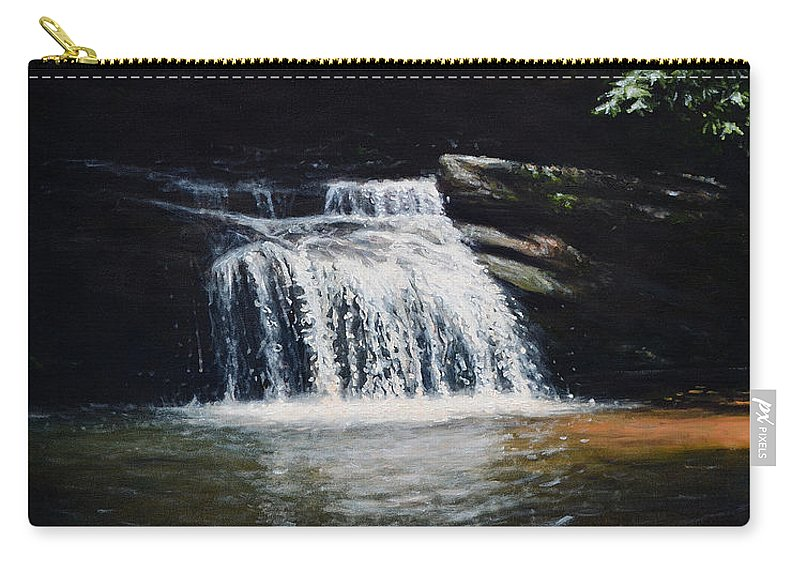 Landscape Carry-all Pouch featuring the painting Waterfall At Table Rock National Forest by Erik Schutzman