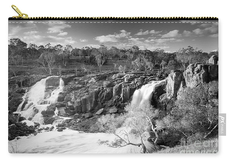 Black And White Carry-all Pouch featuring the photograph Waterfall Black And White by Tim Hester