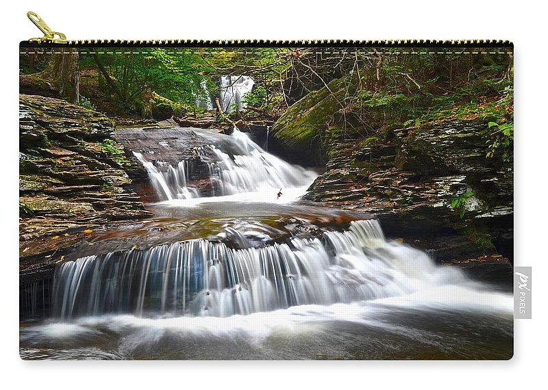 Oasis Carry-all Pouch featuring the photograph Waterfall Oasis by Frozen in Time Fine Art Photography