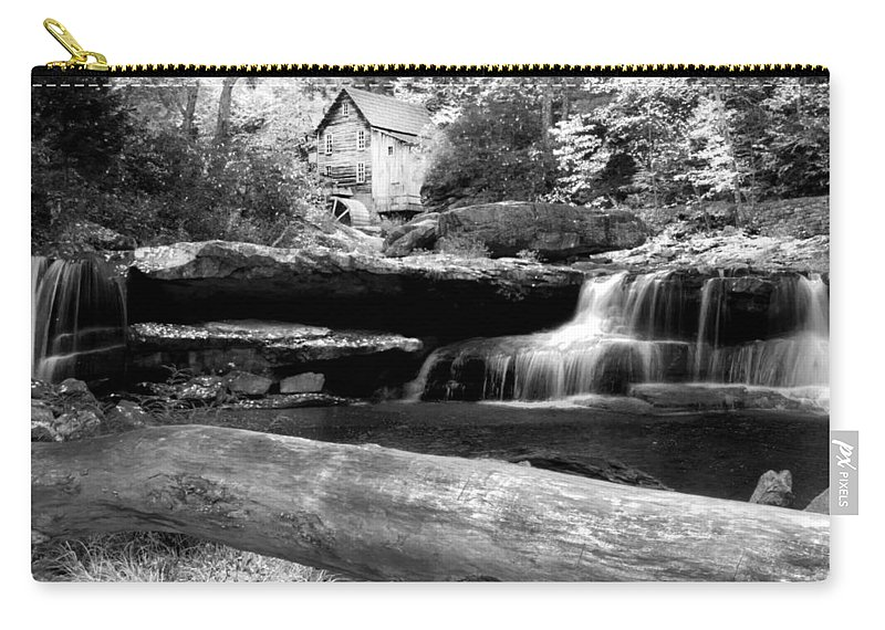 Glade Creek Grist Mill Carry-all Pouch featuring the photograph Waterfalls Mill Black N White by Randall Branham