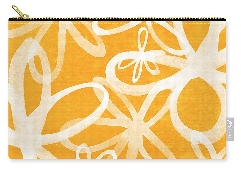 Large Abstract Floral Painting Carry-all Pouch featuring the painting Waterflowers- orange and white by Linda Woods