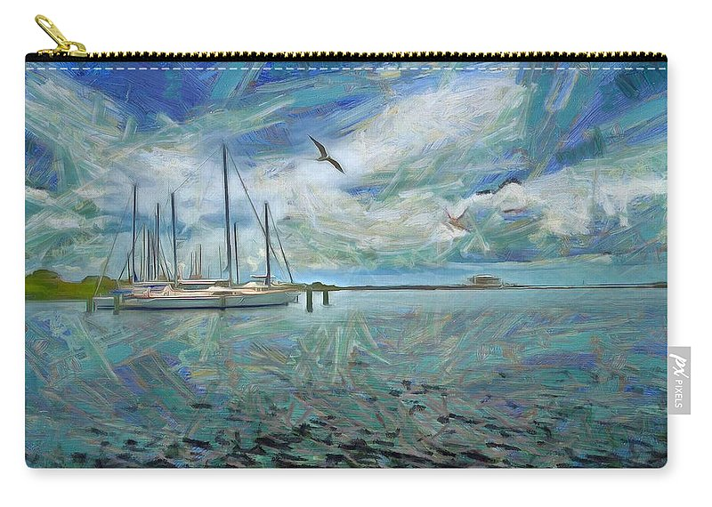 Waterfront View Carry-all Pouch featuring the painting Waterfront View by L Wright