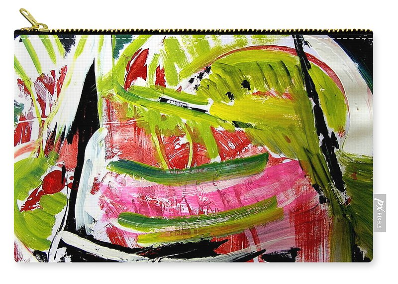 Watermelon Painting Carry-all Pouch featuring the painting 'watermelon' by Carol Skinner