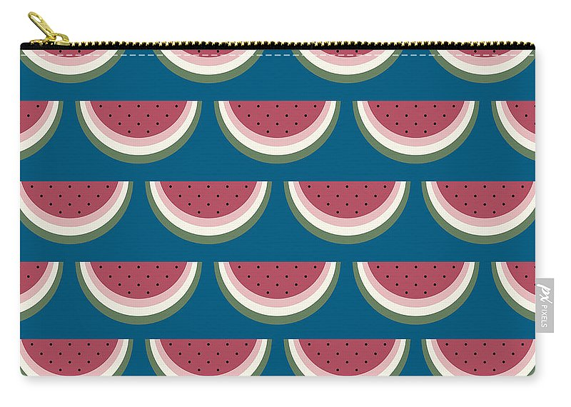 Watermelon Carry-all Pouch featuring the digital art Watermelon Pattern by Richard Laschon