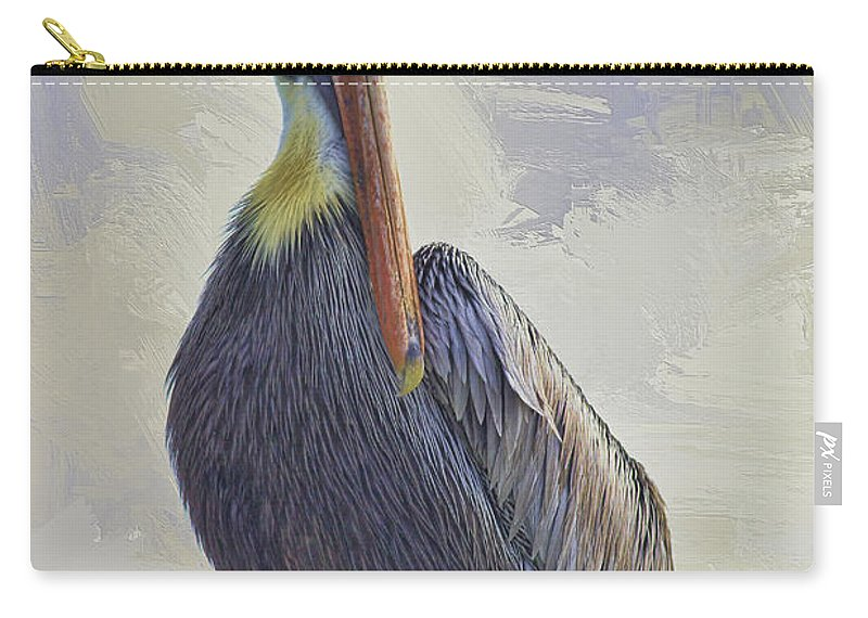Pelican Carry-all Pouch featuring the photograph Waterway Pelican by Deborah Benoit