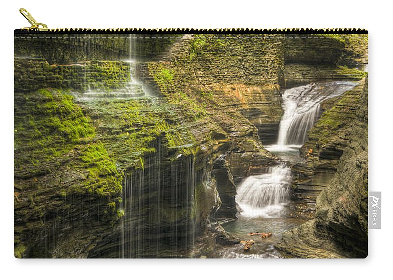 Watkins Glen Carry-all Pouch featuring the photograph Watkins Glen Rainbow Falls by Anthony Sacco