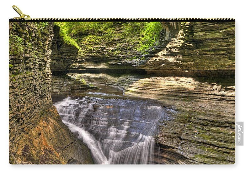 Watkins Glen Carry-all Pouch featuring the photograph Watkins Glen Waterfalls by Anthony Sacco