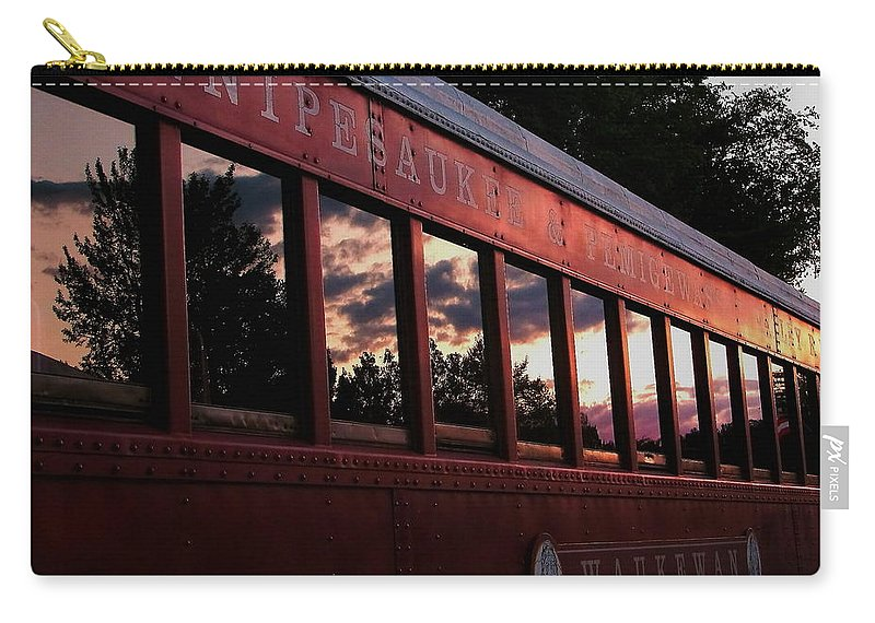 Meredith Carry-all Pouch featuring the photograph Waukewan Train by Jeff Heimlich