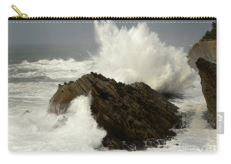 Oregon Carry-all Pouch featuring the photograph Wave At Shore Acres by Bob Christopher