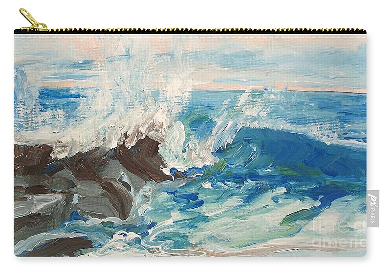 Wave Carry-all Pouch featuring the painting Wave At Sunset Beach by Eric Schiabor