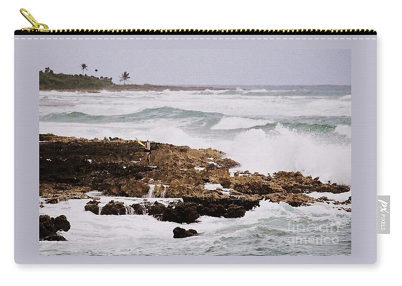 Ocean Art Waves Mexico Costa Maya Water Dramatic Waves Travel Excitement Weather White Caps Stock Shot Rocks Outdoors Canvas Print Metal Frame Poster Print Available On Greeting Cards Pouches T Shirts Mugs Shower Curtains Tote Bags Weekender Tote Bags And Phone Cases Carry-all Pouch featuring the photograph Waves Pounding Costa Maya, Mexico by Marcus Dagan